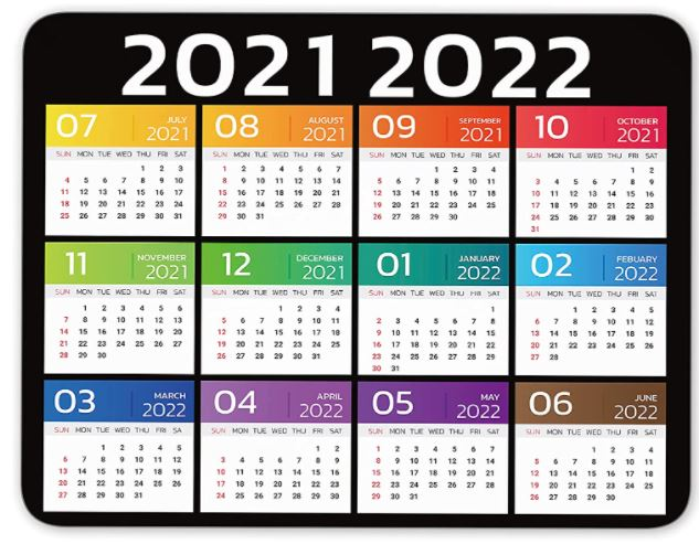 2021 2022 Calendar Colorful Year 2021 2022 Mouse Pad Anti Slip Personalized Rectangle Gaming Rubber Backing Mousepad